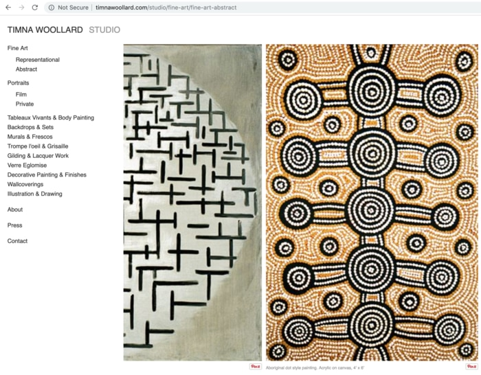 Timna Woollard webpage advertising her painting of Aboriginal Dot Art