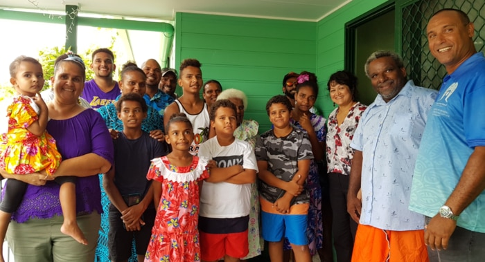 Mayor Fred Gela (R) with happy new homeowners, Poruma, Torres Strait Islands