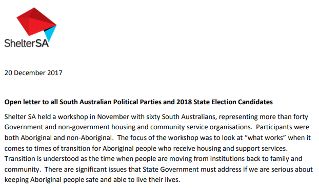 An open letter to the South Australian Political Parties at the hand of Dr Alice Clark, Exec. Director of Shelter SA