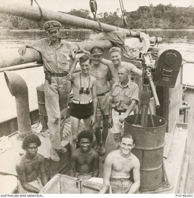 Arthur James Carfax- Foster (standing third form left) and crew of the auxiliary ketch S-115 Miena, Small Ships Section, United States Army Services of Supply.