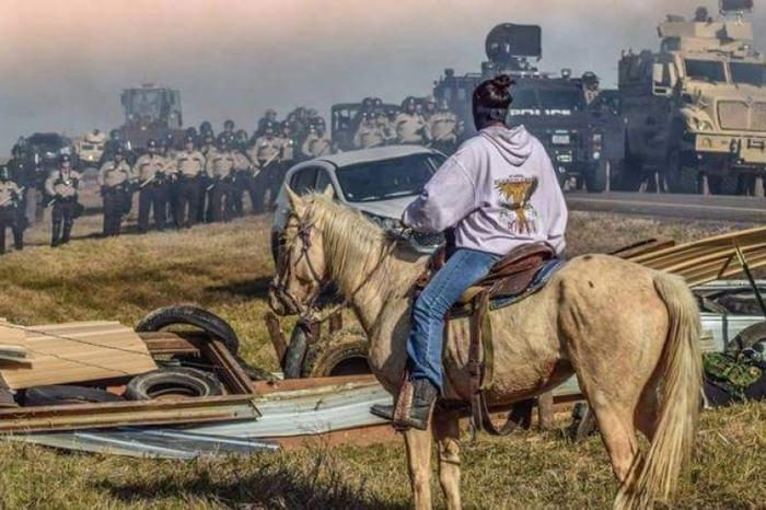 Tens of thousands of supporters came to Standing Rock to peacefully protest oil pipes being laid through tribal lands
