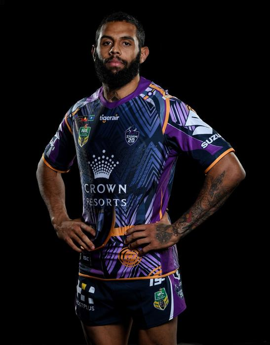 Josh Addo-Carr in the Melbourne Storm Indigenous Round jersey. 2018