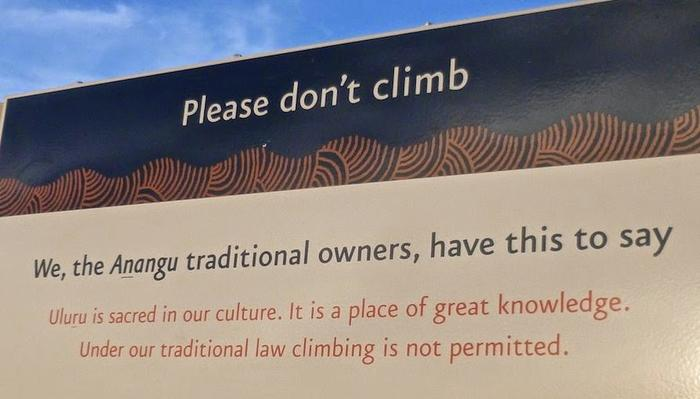 Please do not climb Uluru sign.