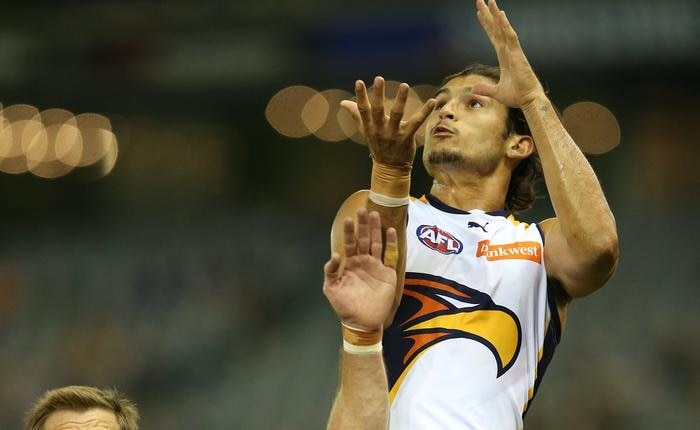 Sharrod Wellingham goes up for a mark for the Eagles during the round one AFL game between the Western Bulldogs and West Coast Eagles played at Etihad Stadium in Melbourne. Saturday, April 4. 2015. (AAP Image/ David Crosling)
