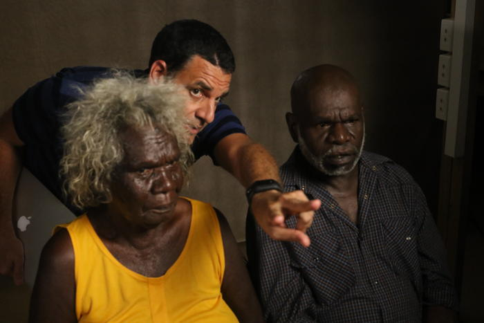 Wik vs Queensland director Dean Gibson with traditional owners lennie r and_maree l koowarta
