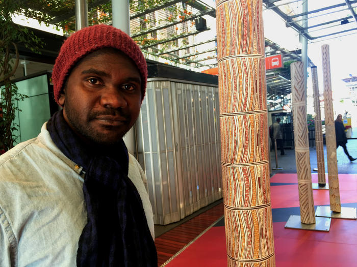 Melbourne-based artist Yirrmal Marika at the unveiling of a Brisbane exhibition.