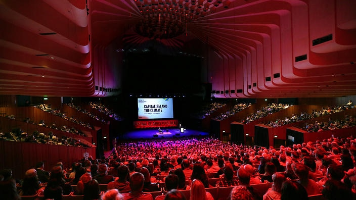 A supplied image obtained Saturday, September 5, 2015, of Capitalism and Climate audiences at the Sydney Opera House as part of the Festival of Dangerous Ideas. (AAP Image/Prudence Upton)