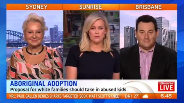 Sunrise, 13 March 2018. Prue MacSween and Ben Davis brought on as panelists to discuss adoption of Aboriginal children.