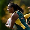 Australian Rugby Sevens team member Mahalia Murphy (left) and Gemma Ethridge (right) during a team training session in Sydney, Thursday, March 10, 2016.  The Womens Rugby Sevens team will travel to Rio for the 2016 Olympic Games in August. (AAP Image/Dean