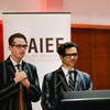 Joshua and Dennis of The Armidale School deliver an Acknowledgement of Country at the AIE Foundation