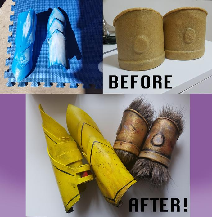 Before and after cosplay costume