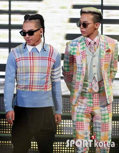G-Dragon colourful checked suit