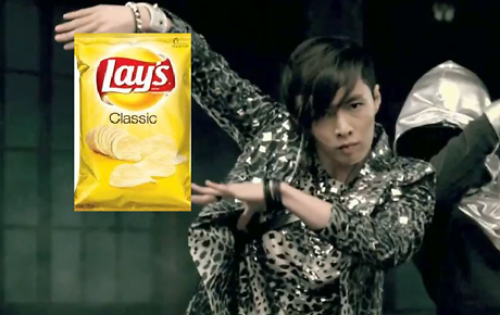 EXO Lay eating Lays chips
