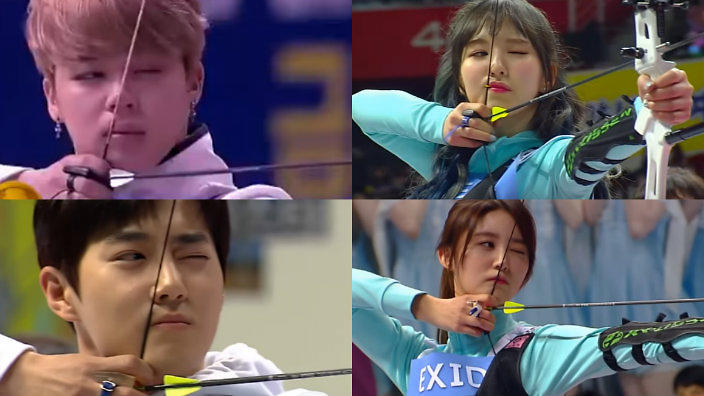 Bts Exo Twice Red Velvet And More Try Archery At Isac 2017