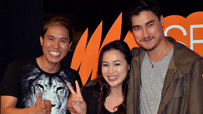 Remy Hii with Jamaica and Andy SBS PopAsia studios