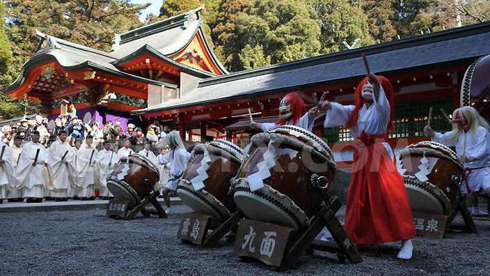 Traditional Japanese drum group performs on national day