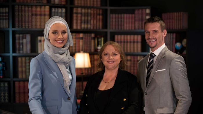 Host of 'Child Genius', Susan Carland with Jane Allen of the International Quizzing Association and Alan Thompson