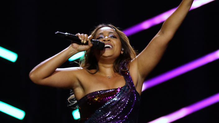 Jessica Mauboy from Australia performs the song 'We Got Love' at the Eurovision song contest inLisbon, Portugal