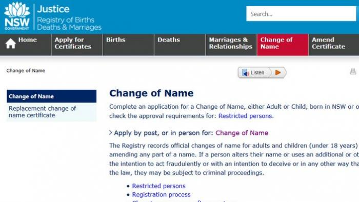Change of name form