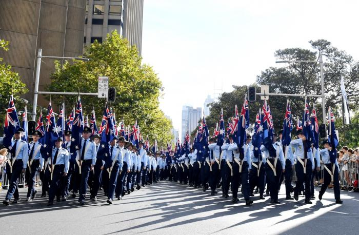 Flag bearers take part in the ANZAC Day March in Sydney on Tuesday, April 25, 2017.