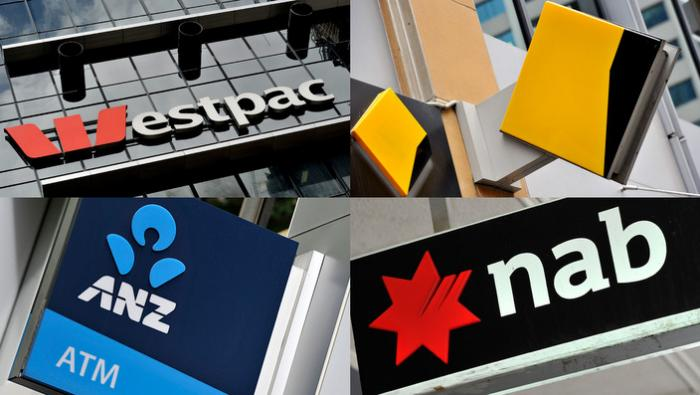 A composite image of signage of Australia's 'big four' banks ANZ, Westpac, the Commonwealth Bank (CBA) and the National Australia Bank (NAB) signage in Sydney, Friday, Oct. 23, 2015.