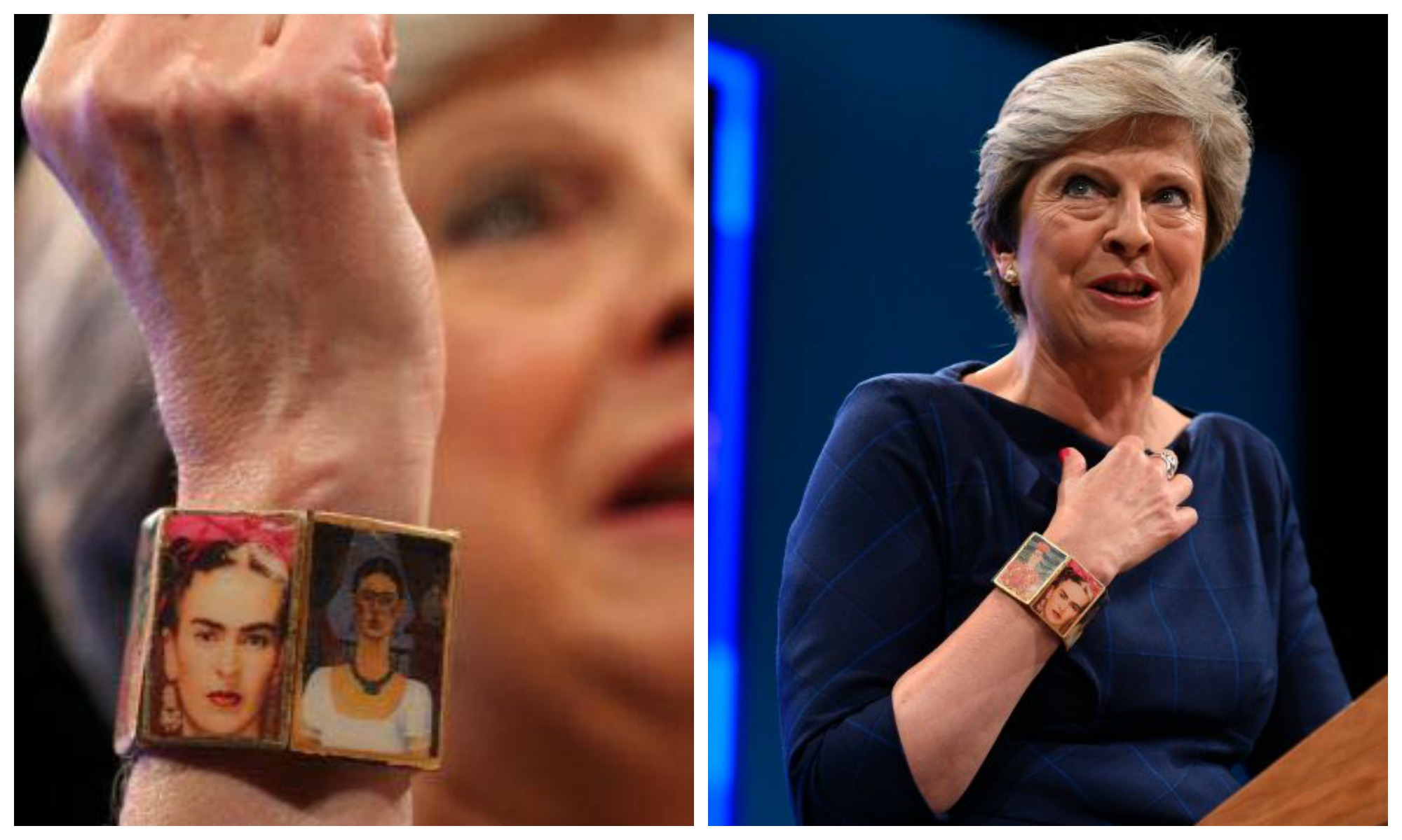 British PM Theresa May wore a Frida Kahlo bracelet and
