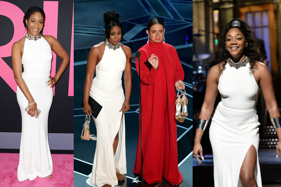 4f5ab8ca65b1 Tiffany Haddish re-wearing her dress was a nice change from the usual  Oscars excess Tiffany Haddish s white dress repackaging is a welcome  counter to the ...