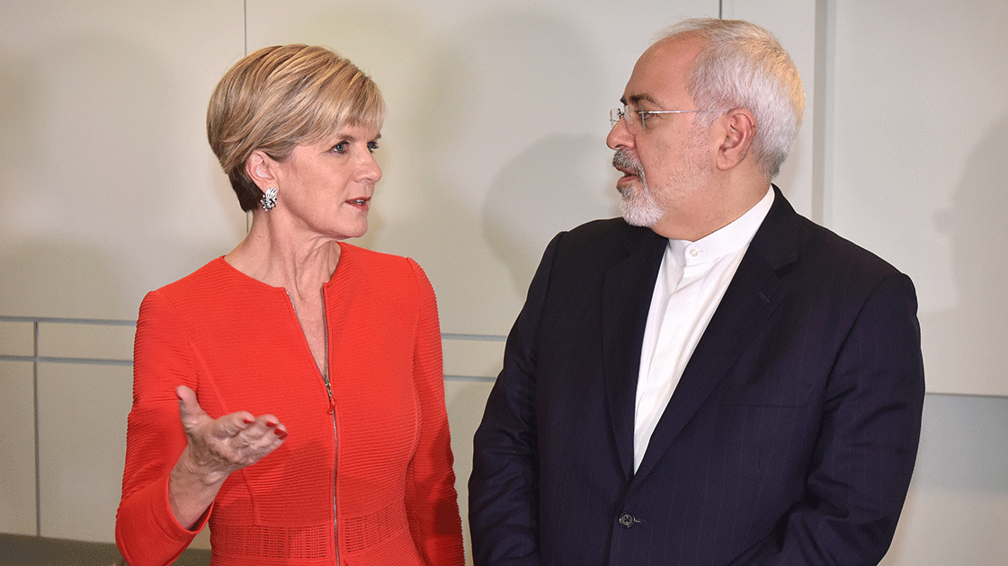 Foreign Minister Julie Bishopwith Iranian Foreign MinisterJavad Zarif in Canberra in March 2016.