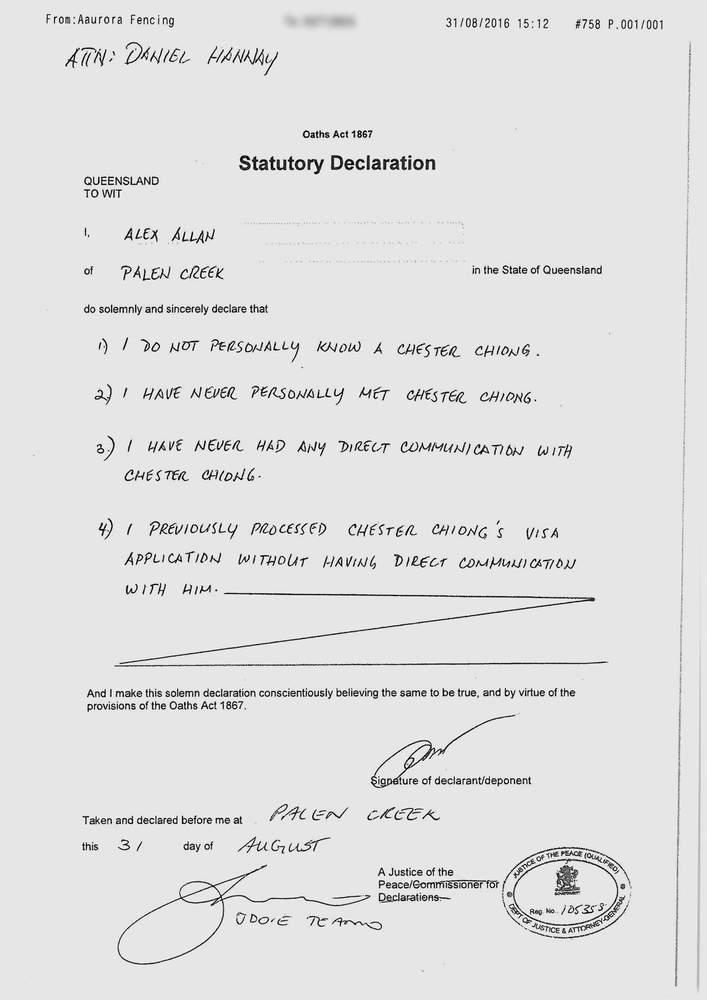 Invitation Letter Statutory Declaration