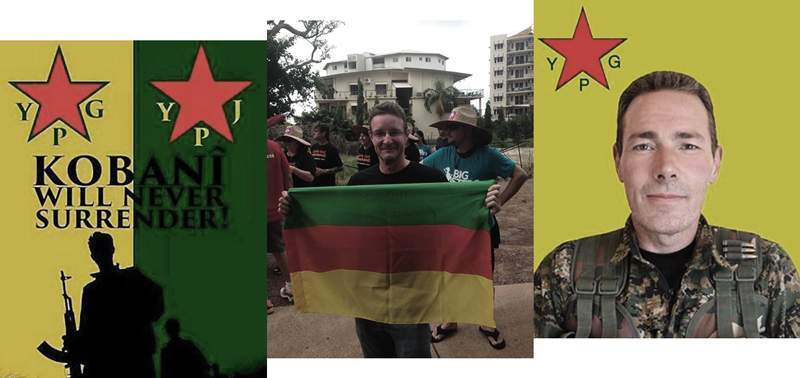 [L-R] A pro-YPG poster, Matthew Gardiner with the Rojava flag, and the late Australian YPG volunteer Jamie Bright, who was shot dead in May 2016.