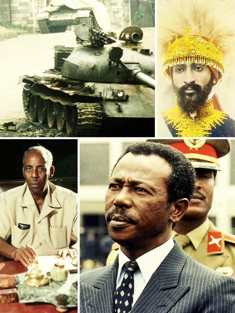 Top row: A T-62 tank outside Ethiopia's presidential palace in 1974 (MSgt Ed Boyce, US DoD) and a portrait of deposed Emperor Haile Selassie (Mary Evans Picture Library).Bottom row: Former Somali President Mohamed Siad Barre (Kevin Fleming\/Corbis via Getty Images) and former Ethiopian President Mengistu Haile Marian (AP Photo\/Aris Saris).