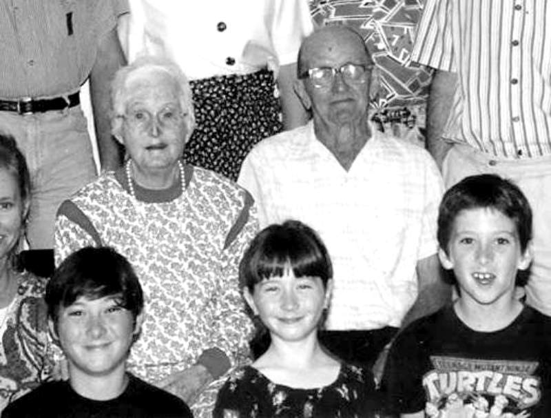 Siblings (front row L-R) George, Kathleen and Antony Christensen, with their grandparents (back row L-R) Eileen and Tony Christensen in the 1980s.