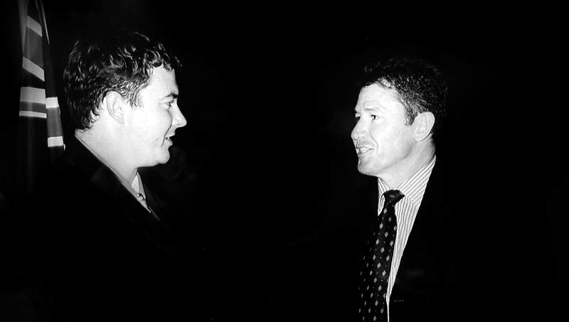 George Christensen (L) is sworn in as a Mackay councillor in 2004, pictured with then Mackay council CEO Ken Gouldthorpe.