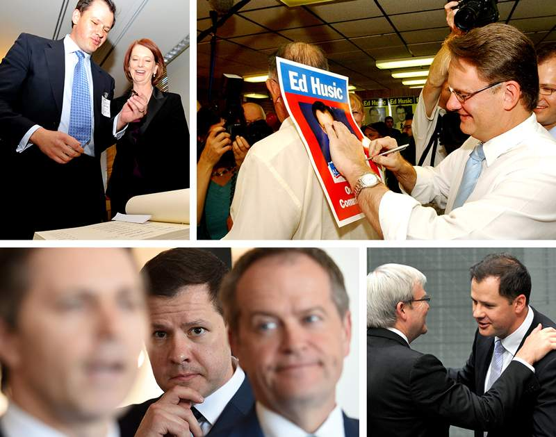 Clockwise from top left: Ed Husic signs the ALP Caucus book with Julia Gillard in 2010 (AAP Image\/Alan Porritt); Mark Latham signs a Husic campaign poster in 2004 (AAP Image\/Paul Miller); Kevin Rudd congratulates Husic on his 2010 maiden speech (AAP Image\/Alan Porritt); Husic stands behind Bill Shorten and Jason Clare in 2015 (AAP Image\/Tracey Nearmy).
