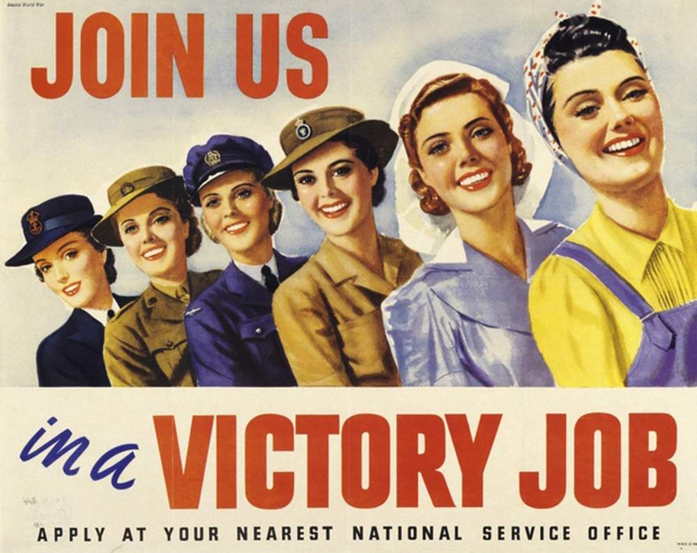 A WWII recruitment poster depicting women representing the WRAN, AWAS, WAAAF, AWLA, AAMWS, and a munitions worker (AWM)
