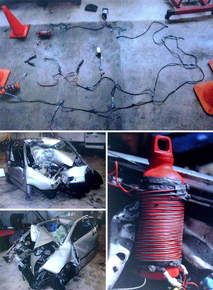 (top) The elaborate electrical circuit Milne built to detonate the bombs.(right) One of the petrol bombs Milne installed in the car.(left) The wreckage of the car after Darren Milne drove it into a tree at 85 kph.(Photos: Coroner's Court)
