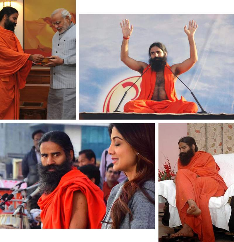 Clockwise from top left: Ramdev with India's Prime Minister Narendra Modi; Baba Ramdev addresses a crowd; Ramdev with Bollywood actress Shilpa Shetty; Ramdev on TV.