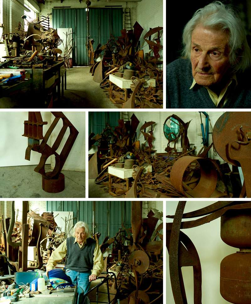 """Erwin Fabian with the """"bits and pieces"""" in his North Melbourne studio."""