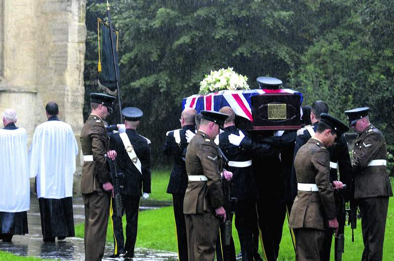 The funeral of James Dunsby in August 2013.