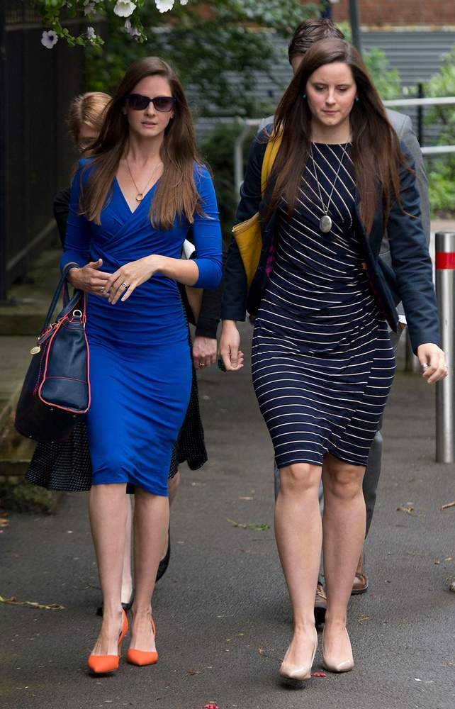 Bryher Dunsby (left), the widow of Corporal James Dunsby, arrives at the inquest held in July 2015 into her husband's 2013 death. (Photo: Joe Giddens\/PA Wire)