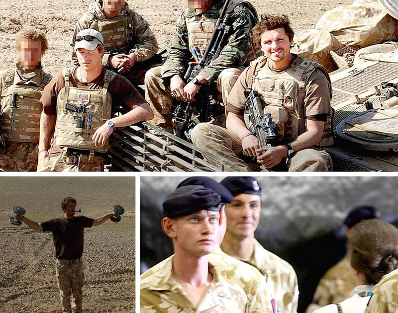 L-R from top: Prince Harry (left) with Corporal James Dunsby (right) in Afghanistan (Photo: MOD); Dunsby with weights and a pipe; Dunsby (rear) receiving a campaign medal from Princess Anne.