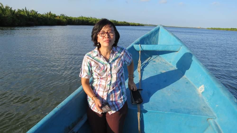 Lawyer Christina Widiantarti with Nusakambangan Island in the background. (Photo: Deborah Cassrels)
