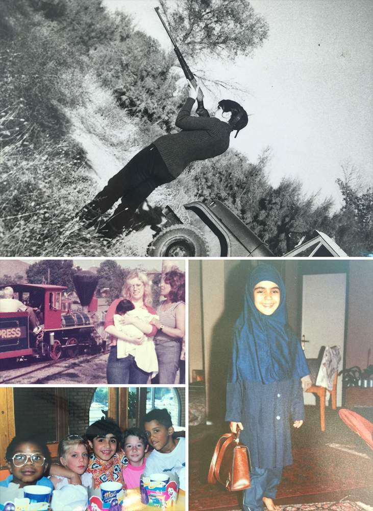 Clockwise from top: Rita's mother Zinat holds a gun in pre-revolution Iran; Rita as an Iranian schoolgirl; a birthday in Australia for Rita's brother Reza (centre); baby Rita in the US with her aunt and mother.