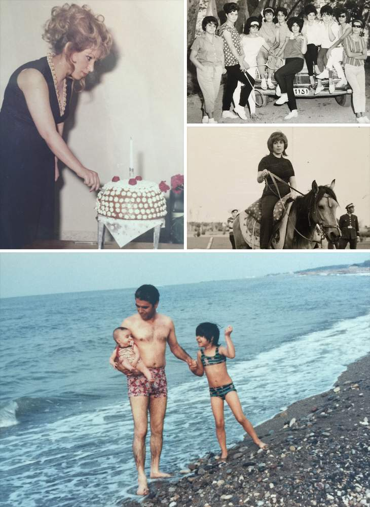 Clockwise from top left: Rita's mother Zinat cuts a cake in pre-1979 Iran; Zinat (third from left) pre-revolution with friends; Zinat on horseback pre-revolution; Rita's father James on an Iranian beach with baby Reza and Rita.