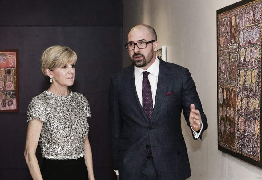 Foreign minister Julie Bishop and Henry Skerritt(Photograph courtesy of the Department of Foreign Affairs and Trade)