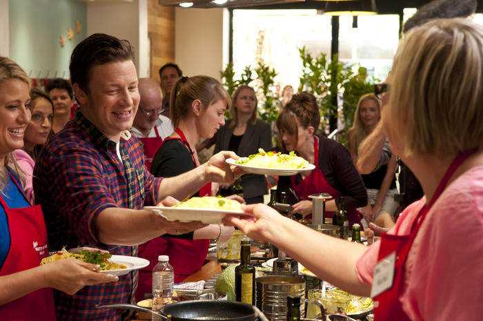 Jamie Oliver and his mobile kitchen visits Geelong, Australia.