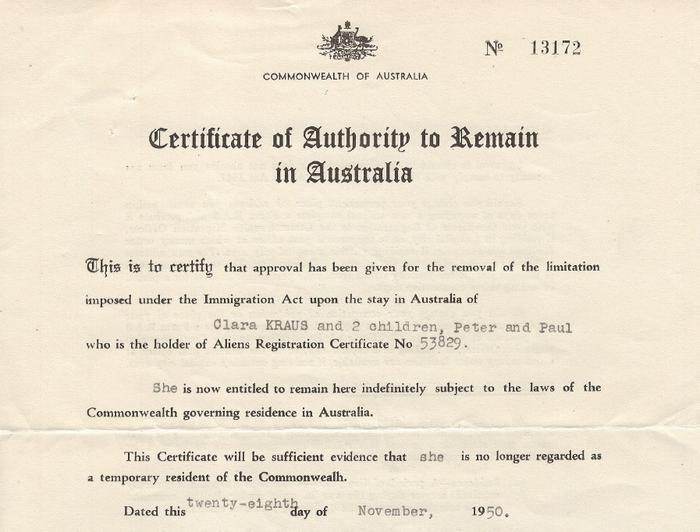 Image of a document provided which grants the Kraus' refuge in Australia (supplied by Paul Kraus)