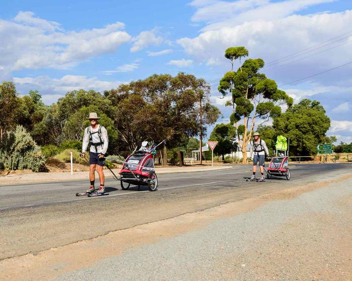 Roller skiing is similar to cross-country skiing