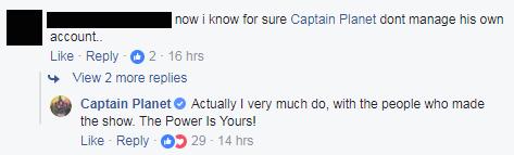 Comment left on Captain Planet's post.