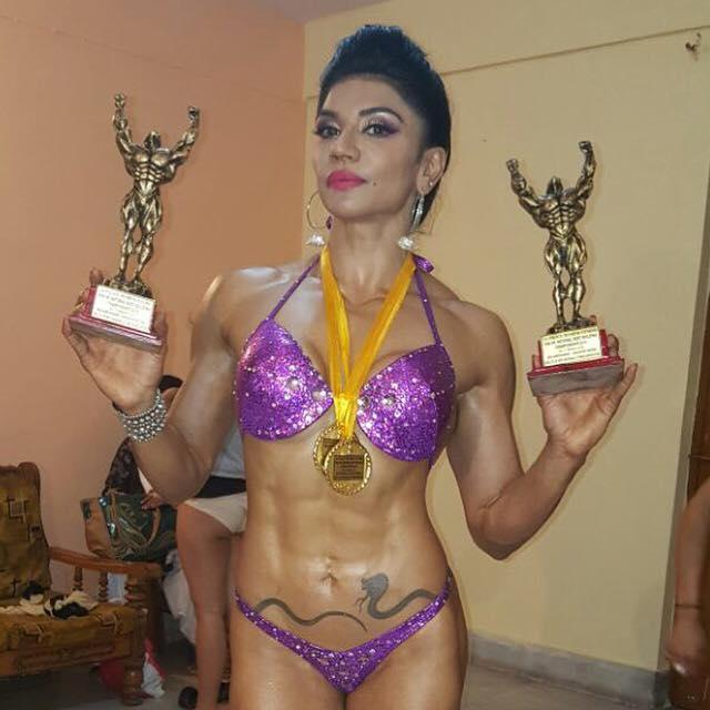 She won two gongs at the Indian Body Building and Fitness Federation competition